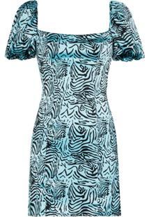 De La Vali Koko Tiger Print Dress - Azul