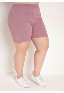 Short Rosa Com Elástico Plus Size
