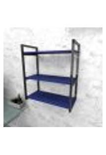 Estante Industrial Escritório Aço Cor Preto 60X30X68Cm (C)X(L)X(A) Cor Mdf Azul Modelo Ind25Azes