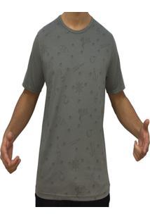 Camiseta Kzs Aleatoria Gola Redonda Cinza