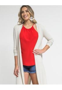 Blusa Zinzane Tecido Preguinhas Basic - Feminino-Vermelho
