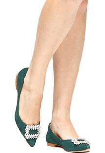 Sapatilha Couro Shoestock Bico Fino Fivela Pedrarias Feminina - Feminino