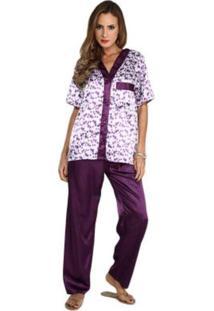 Pijama Cetim Rmb Lingerie Estampa Púrpura