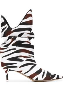 Attico Ankle Boot Com Estampa De Zebra - Marrom