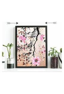 Quadro Decorativo Com Moldura Pintura Flores Preto - 20X25Cm