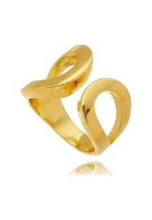 Anel Kaka Corrêa Vazado Liso Regulável No Banho De Ouro 18K - Feminino-Dourado