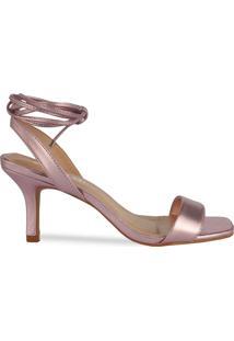 Sandália Rosé De Amarração E Bico Quadrado