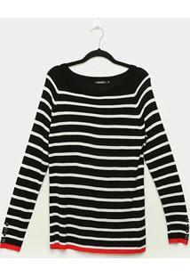 Suéter Tricot Miose Listrado Alongado Feminino - Feminino-Preto+Branco