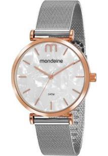 Relógio Mondaine Minimalista Aço Feminino - Feminino-Prata