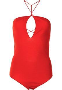 Bottega Veneta Body Frente Única Com Recorte Vazado - Vermelho