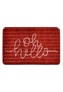 Capacho Carpet Oh Hello Vermelho Único Love Decor
