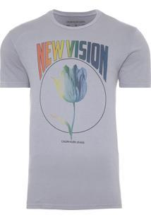 Camiseta Masculina Estampa Flow New Vision - Cinza