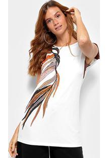 Camiseta Com Ombreira Morena Rosa Folhagens Feminina - Feminino-Off White