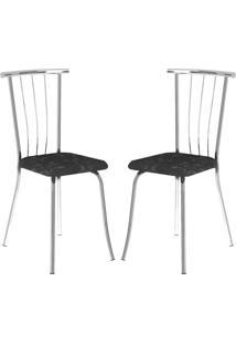 Cadeira 154 Cromada 02 Unidades Fantasia Preto Carraro