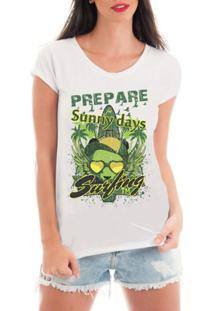 Camiseta De Renda Criativa Urbana Verão Ferias Praia Surf - Feminino-Branco
