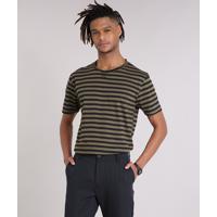 f7f38b3e6 Camiseta Masculina Listrada Manga Curta Gola Careca Verde Militar