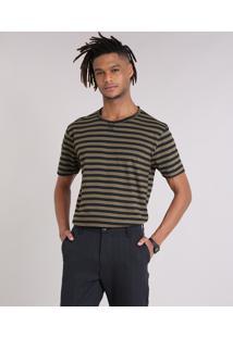 Camiseta Masculina Listrada Manga Curta Gola Careca Verde Militar