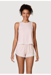 Pijama Curto Em Malha Canelada Feminino - Feminino-Rosa