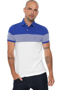Camisa Polo Tommy Hilfiger Reta Dylan Azul/Branca