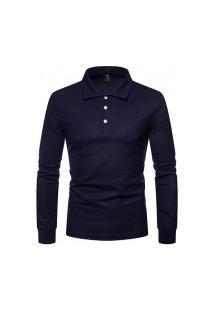 Camisa Masculina Brixton Manga Longa - Azul Escuro