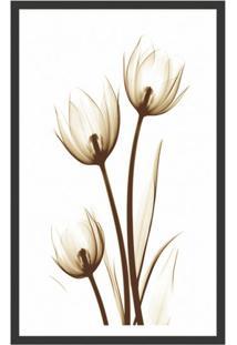 Quadro Decorativo Com Moldura Floral Ii Preto 80X50 Cm