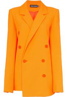 House Of Holland Blazer Com Abotoamento Duplo - Laranja