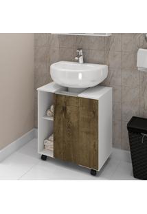 Gabinete Para Banheiro Móveis Bechara Pequin Branco/Madeira Rústica