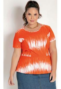 Blusa Tie Dye Laranja Com Recortes Plus Size