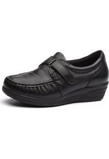 Sapato Doctor Shoes Anabela 183 Pespontos Preto