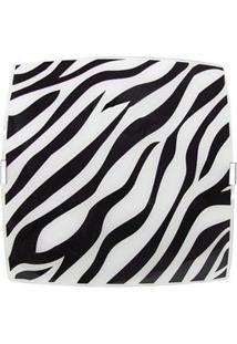 Plafon Sobrepor Attena Quadrado Pequeno 21Cm Zebra Em Vidro – Preto