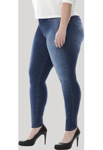 6449c9001 ... Calça Jeans Feminina Sawary Cigarrete Plus Size Azul Escuro