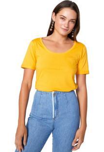 Amaro Feminino T-Shirt Bolso Relógio Sustentável, Amarelo
