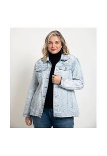 Jaqueta Jeans Alongada Com Puídos E Tachas Curve & Plus Size Azul