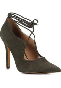 Scarpin Shoestock Salto Alto Nobuck Lace - Feminino-Verde