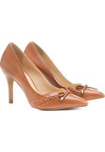 Scarpin Couro Shoestock Salto Alto Trançado - Feminino-Caramelo