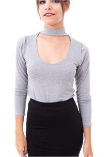 Blusa Moda Vicio Gola Alta Com Decote E Manga Longa Feminino - Feminino-Mescla
