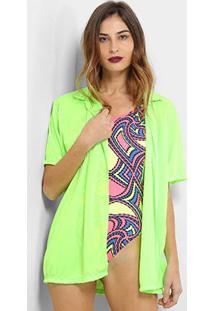 Camisa Saída De Praia Flora Zuu Neon Feminina - Feminino-Verde