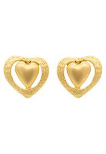 Brinco Coração Moldura Dourado