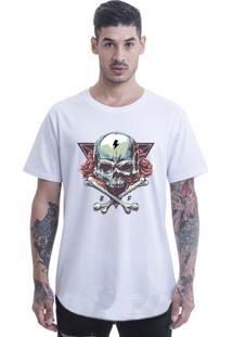 Camiseta Longline Blast Fit Branco Aredondada
