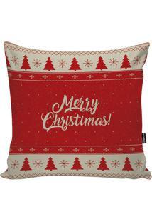"""Capa Para Almofada """"Merry Christmas""""- Vermelha & Off Whistm Home"""