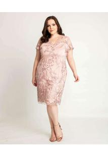 Vestido Almaria Plus Size Pianeta Curto Manga Curt
