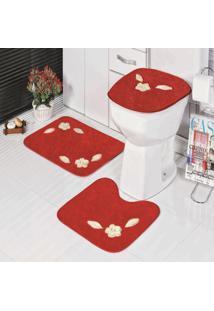 Jogo De Banheiro Bordado 3 Peças Antiderrapante Margarida Vermelha - Tricae