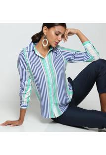 Camisa Listrada- Branca & Azul- Intensintens