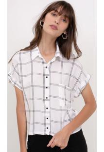 Camisa Cropped Xadrez Grid