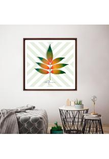 Quadro Com Moldura Chanfrada Bhrasylis All Leafman Madeira Escura - 50X50 - Multicolorido - Dafiti