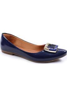Sapatilha Thamy Shoes Bico Fino Verniz Feminina - Feminino-Marinho