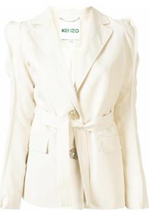 Kenzo Blazer Com Abotoamento Simples E Cinto - Branco