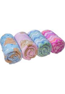 Cobertor Zigzag Em Microfibra- Azul Claro & Branco- Camesa