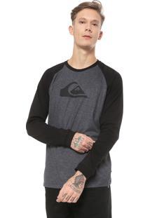 Camiseta Quiksilver Raglan Preta/Cinza
