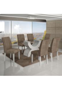 Conjunto Mesa Olimpia New 1,60X0,80M 6 Cadeiras Animale Capuccino - 7337.30.1.13 Leifer
